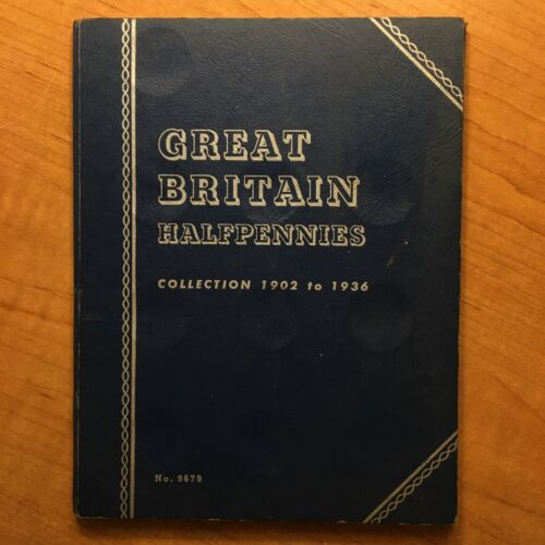 31 Coin Type-Set Great Britain Halfpennies Collection 1902 to 1936 Whitman Album