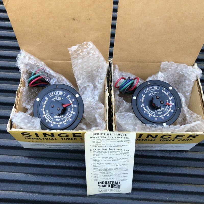 unused new in box Singer Industrial Timer, 24 hour PAIR, 115v 60 hz RS-24H USA