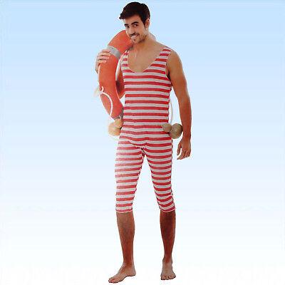 20er Jahre Badeanzug (Herren Retro Badeanzug Größe M/L 20-er Jahre Ringelmuster Streifen Badesachen)