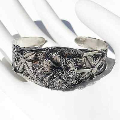 Vintage Filigree Floral Silver Cuff Bracelet Lightweight Delicate
