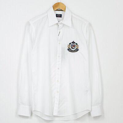 Paul And Shark Emblema Camiseta Blanca Manga Larga Hombre Talla 39/15.5/M