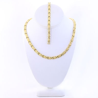 "Hugs & Kisses Necklace Stampato Stainless Steel Gold Plated 18"" XO Bracelet Set"