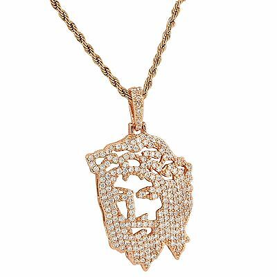 Ghost Jesus Cut Out Pendant Simulated Diamonds Rose Gold Finish Free Necklace Cut Out Rose Pendant
