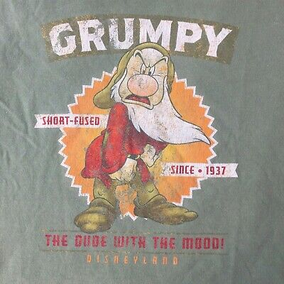 Disneyland Mens Small Green  Grumpy The Dude with the Mood T-Shirt