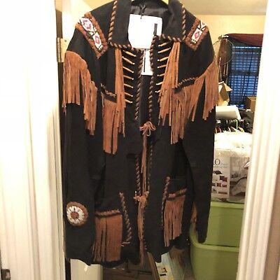 Brown Fringed, And  beaded Buffalo Coat