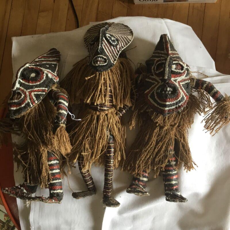 3 African tribal figure Makishi dancers  burlap mask art masquerade doll