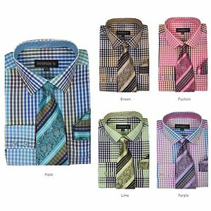 Mens plaid checks design dress shirt w matching tie hanky for Mens shirts with matching ties