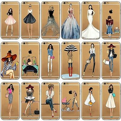 Shopping Girl Fashion Dress Coque Case Cover For iPhone 5S 6 6s + 7 8 Samsung S7