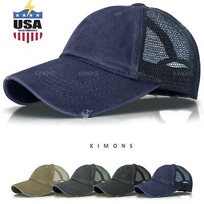 Washed Cotton Trucker Hat Distressed Mesh Baseball cap Vintage Adjustable Dad