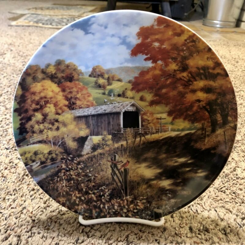 1988 Edwin M. Knowles China The Covered Bridge Decorative Plate w/ stand