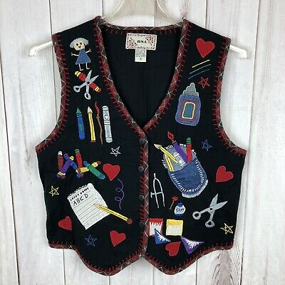 BSA Best Teacher Embroidered Patchwork Button V Neck Vest Medium 100% Cotton (Best V Neck Undershirt)
