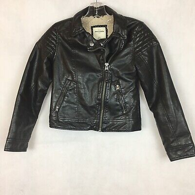 Abercrombie and Fitch Kids Size 9/10 Faux Leather Moto Jacket Black