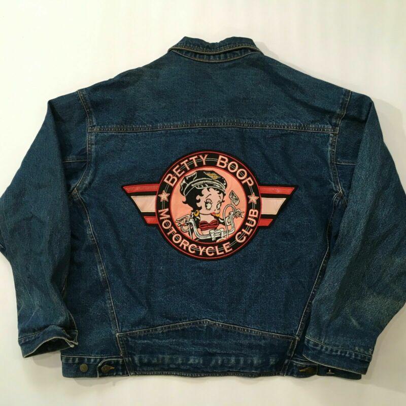 Vintage American Toons Size 2XL Denim Motorcycle Jean Jacket Betty Boop Biker