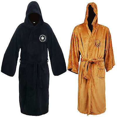 Star Wars Jedi Knight & Sith Fleece Hooded Bath Robe Bathrobe Cloak Cape Costume - Brown Hooded Robe