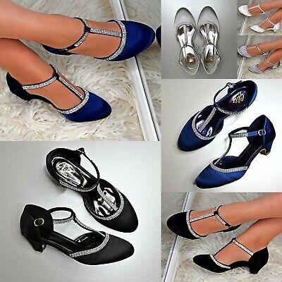 Womens Satin Low Heel Shoes Diamante Strappy Evening Wedding Bridal Dress Pumps  New Wedding Bridal Womens Shoes