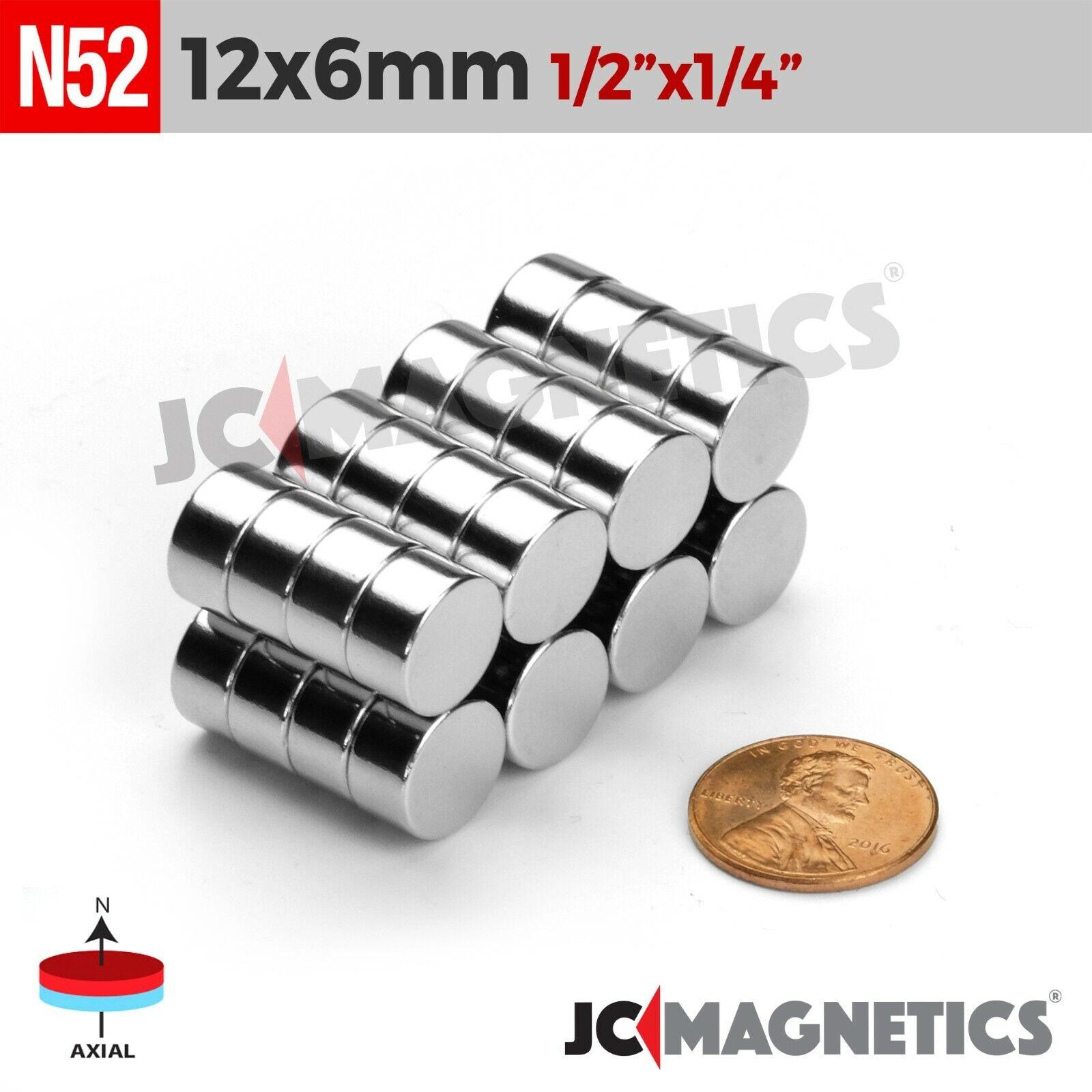 "5 10 25pc 12mm x 6mm 1/2"" x 1/4"" N52 Strong Rare Earth Neody"