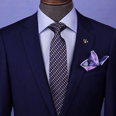Basket Woven Silk Tie (Blue Brown & White Basket Woven Formal Business Dressy Fashion 3 Inch Silk)