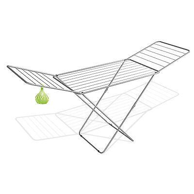 18m Wäscheständer silber + Klammerbeutel Wäschetrockner Flügelwäschetrockner
