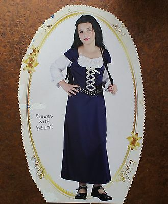 MEDIEVAL GIRL BLUE COSTUME VICTORIAN  FANCY DRESS MAID MARION 9-12 years (Maid Dress)