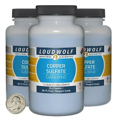 Copper Sulfate 1.9 Pounds 3 Bottles 99.7 Pure Reagent Grade Dry Powder