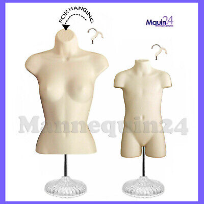 Female Child Torso Mannequin Set - 2 Dress Body Forms 2 Stands 2 Hangers