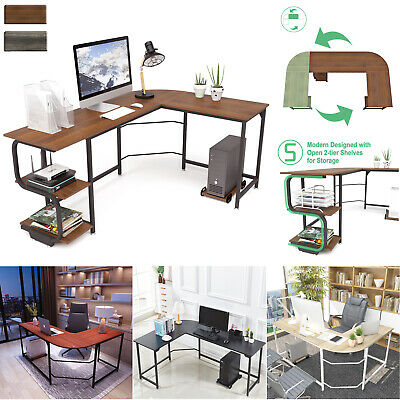 L Shaped Shelves Corner Desk Computer Desk Gaming Table Home Office Workstation
