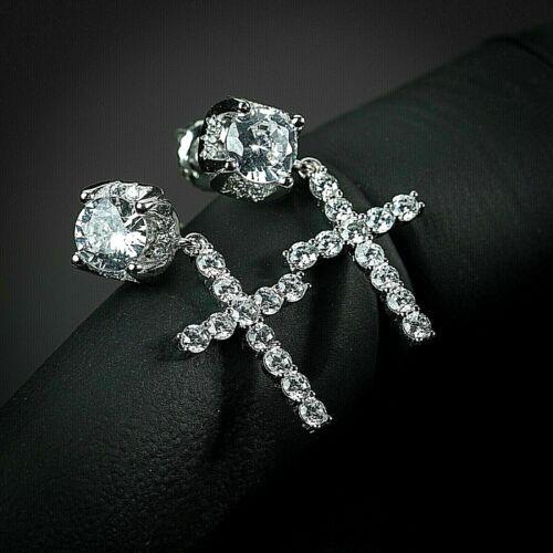 Sterling Silver Cz Ice Stud Cross Drop Hanging Huggie Dangle Hoop Mens Earrings