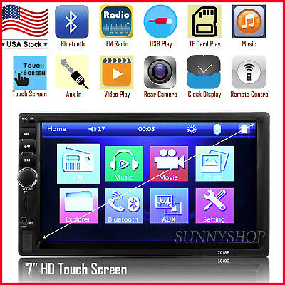 "Car Stereo Radio Bluetooth Audio Receiver Double Din Touch Screen 7"" USB AUX TF"