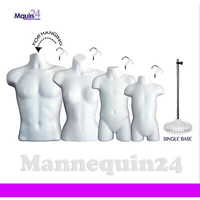 A Set Of 4 White Mannequins Male Female Child Toddler Body Forms 1 Stand