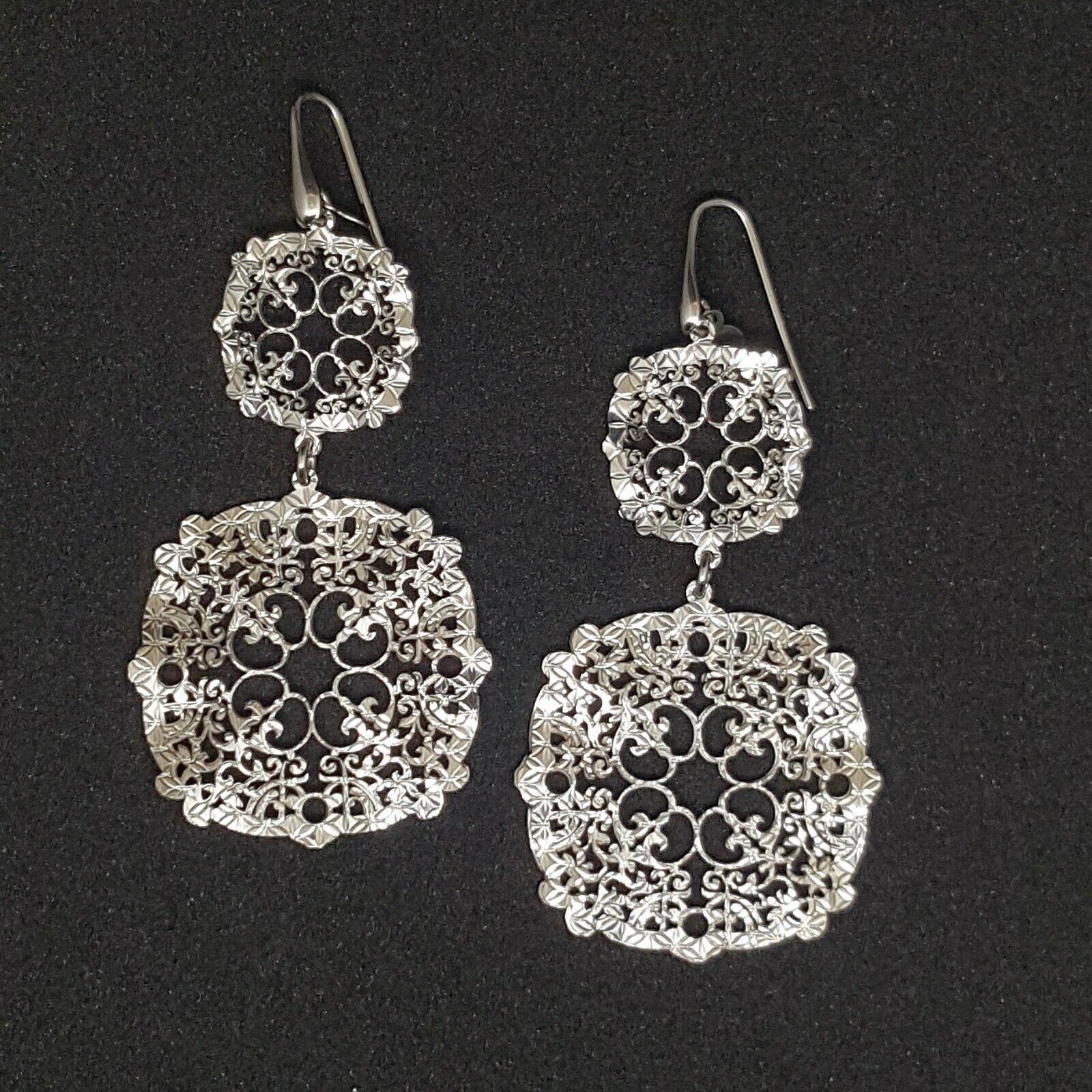 orecchini donna lunghi argento 925 pendenti lastra traforata motivo decorativo