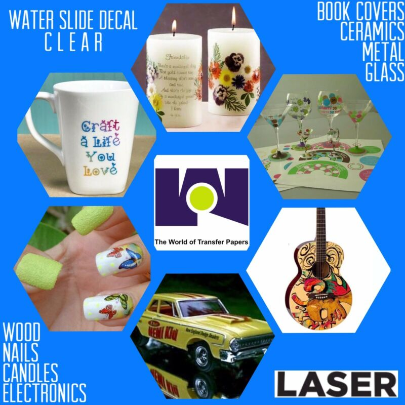 "LASER Printable waterslide decal Clear transfer paper 5 sheets 8.5""x11"""