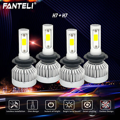 H7+ H7 3300W 495000LM Combo CREE Fanless LED Headlight Kit High&Low Light Bulbs
