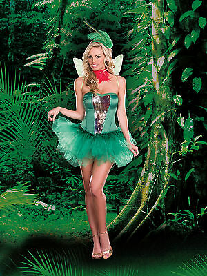 Sexy Adult Halloween DreamGirl Hummingbird Hottie Bird Fairy Costume w Wings