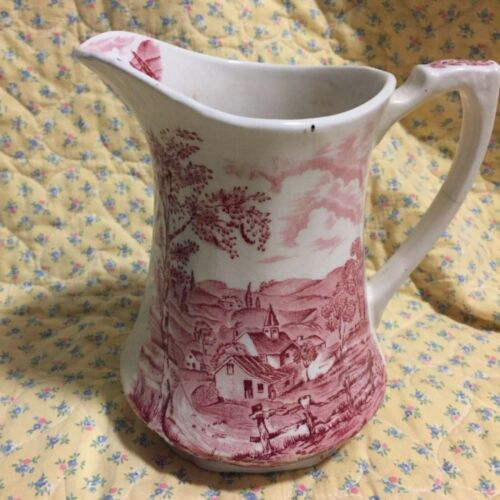 ANTIQUE ALFRED MEAKIN REVERIE WHITE/PINK/RED IRONSTONE PITCHER 7 in  ENGLAND