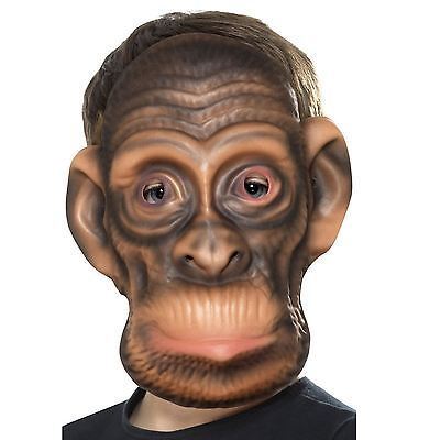 Childs Kids Realistic Gorilla Monkey Chimp Face Mask Brown Curious Animal Jungle ()