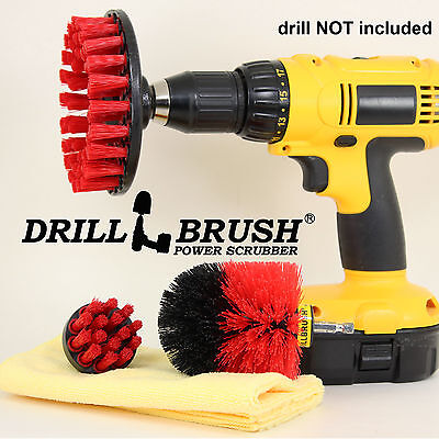 Heavy Duty Outdoor Stiff Bristle Power Scrub Brush Kit w/ Free Microfiber Towel