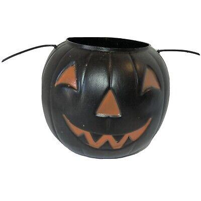 "Vintage 7.5"" General Foam Blow Mold Halloween Black Pumpkin Orange Candy Bucket"