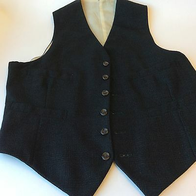 "Vintage black and blue tailored  wool waistcoat 38"""