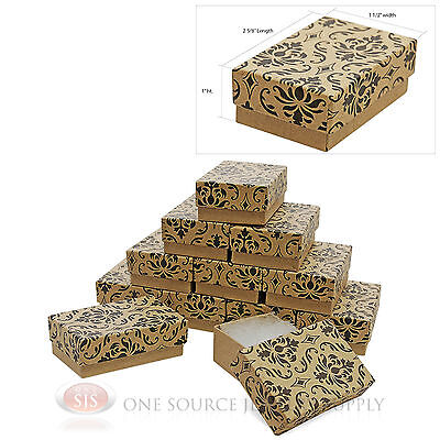 12 Damask Print Cotton Filled Gift Boxes 2 58 X 1 12 Pendant Jewelry