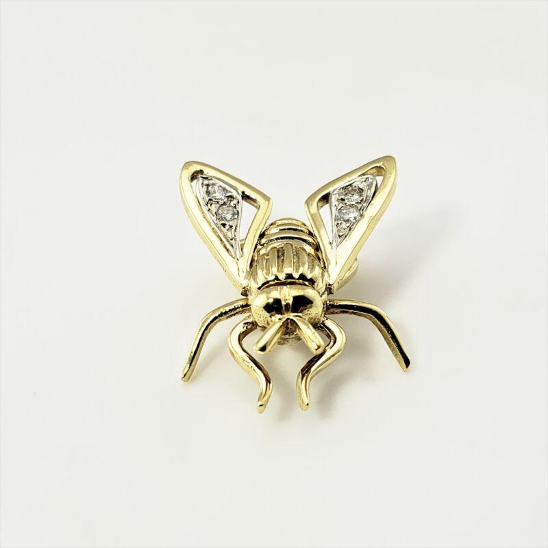 Vintage 18 Karat Yellow Gold and Diamond Fly Pin / Brooch #9204
