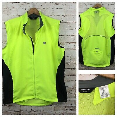 Pearl Izumi Cycling Vest Mens XXL Neon Green Full Zip Nylon Vented Lightweight  Mens Cycling Vest