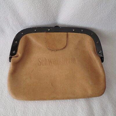 Schaffnertasche Geldtasche Ledertasche braun Tasche m. Metallbügel und Verschluß