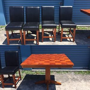 "Wooden ""Bar Height"" Table and 4 Leather Chairs"