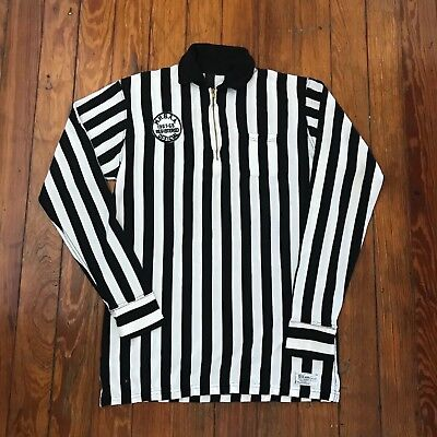 Vintage 1960s Wilson Rayon? Zip Black White Referees Jersey Shirt image