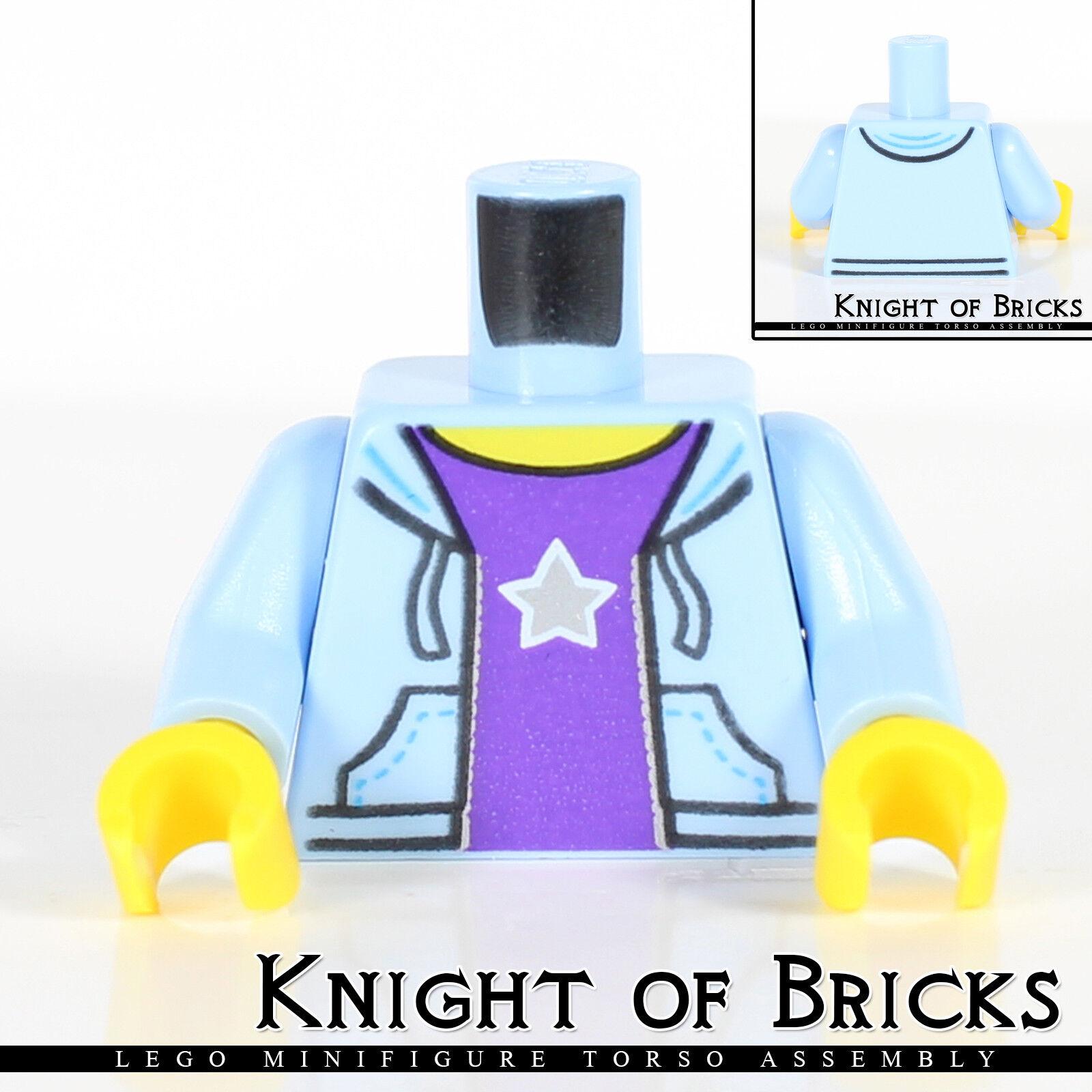 Lego NEW Minifigure Female Torso Hooded Sweatshirt Light Blue Purple Star Shirt