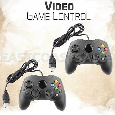 2x For XBOX S-Type Controller Original Microsoft Wired Black Video Game Pad