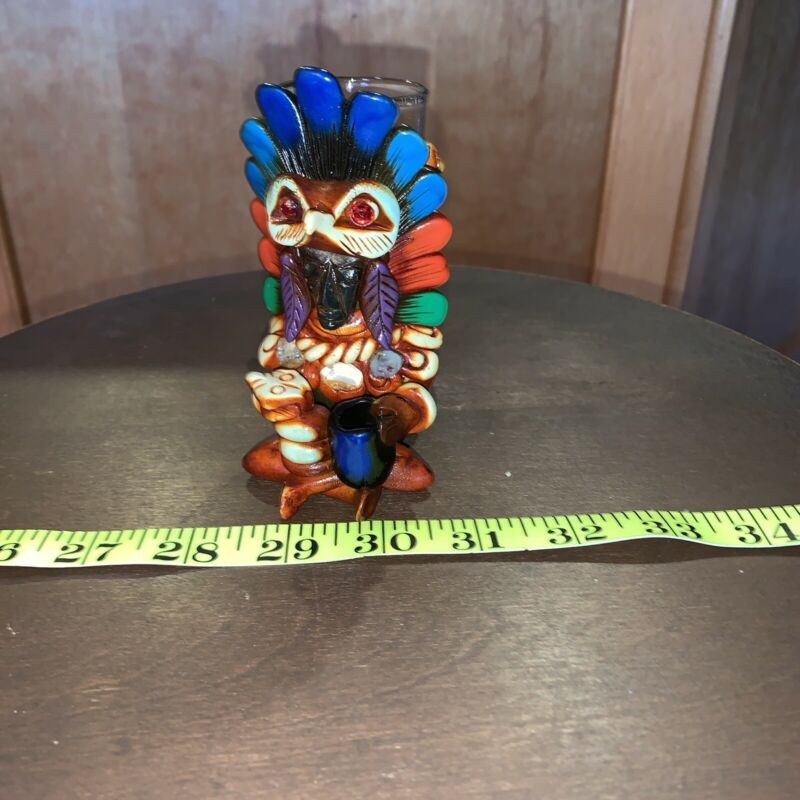 Mexican Aztec Warrior Tequila Shot Glass Obsidian Stone Art Bar Mixed Drink