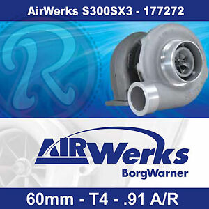Borg Warner Airwerks S300SX3 Turbo-60mm-T4-Twin Scroll-0.91 A/R 320-800hp 177272