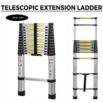 8.5ft Aluminum Telescopic Extension Ladder Extendable Multi-use Step Heavy Duty