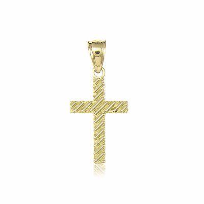 10K Solid Yellow Gold Cross Pendant - Latin Crucifix Necklace Charm Women Men